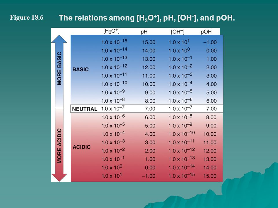 The relations among [H3O+], pH, [OH-], and pOH.